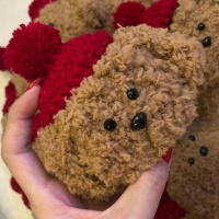 에어팟케이스 1/2 강아지 뜨개질 털 273 레드갈색푸들