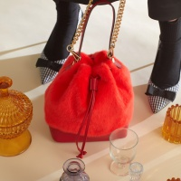 fake fur leather bag_red
