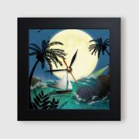 ct827-밤하늘의달풍경_미니액자벽시계