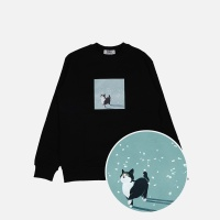 꽃잎고양이 기모 맨투맨 티셔츠-블랙