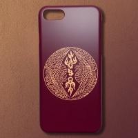 전통 쌍봉황문 버건디 골드 디자인 휴대폰 케이스