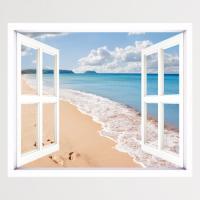 cv266-하늘과바다모래사장_창문그림액자(중형)
