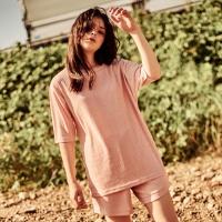 니트 티셔츠 핑크