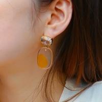 j_e29 - orange big crystal stone earring