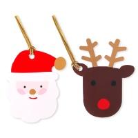 [금박] 반짝이는 산타와 루돌프 [텍] (10개)