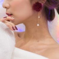 밍크볼 진주 체인 귀걸이