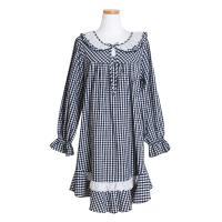 [쿠비카]워싱 펀칭넥 라운드 원피스 여성잠옷 W393