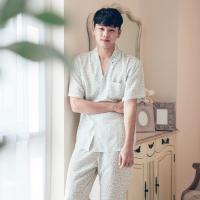 [쿠비카]아기자기 플라워 민트 반팔 남성잠옷 BNBR-M058