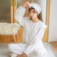[쿠비카]플라워자수 도비면 투피스 여성잠옷 W509