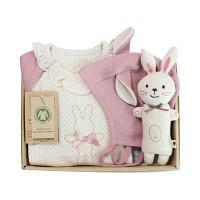 [출산선물/백일선물/돌선물]오가닉 핑크래빗 행복 선물세트