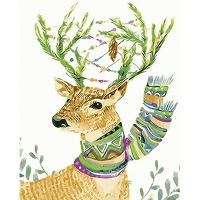 DIY 명화그리기키트 - 목도리 사슴 40x50cm (물감2배, 컬러캔버스, 명화, 동물, 사슴, 목도리)