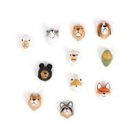 탐닉 동물자석 5종 세트 여우 백곰 흑곰  너구리 늑대