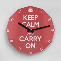 리플렉스 KEEP CALM AND CARRY ON 12각 무소음벽시계 KP12CRD