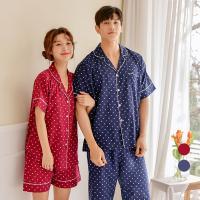 [쿠비카]도트 반팔 카라넥 커플 잠옷 WM181