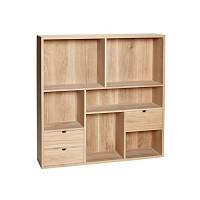 [Hubsch]Wall shelf w/6 compartments & 3 drawers, oak, nature 889001 수납장
