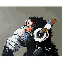 DIY 명화그리기키트 - 음악감상 고릴라 40x50cm (물감2배, 컬러캔버스, 명화, 동물, 음악, 고릴라, 헤드폰)