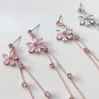 실버문 벚꽃 드롭귀걸이 핑크 벚꽃, 크리스탈 벚꽃