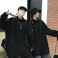 UP 포켓 버클 스트랩 오버핏 블랙 셔츠