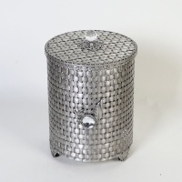 엔틱메탈 라탄패턴 장미 원통형 휴지통 라지-2색상