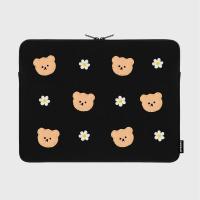Dot flower bear-black-15inch