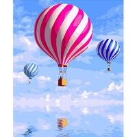 DIY 명화그리기키트 - 바다 위의 열기구 40x50cm (물감2배, 컬러캔버스, 명화, 풍경화, 바다, 열기구, 하늘)