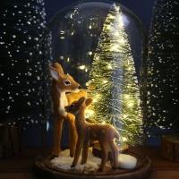 LED 조명 크리스마스트리 유리돔_엄마+아기사슴