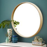 우드로하우스 북유럽풍 원목원형거울 60cm원형거울