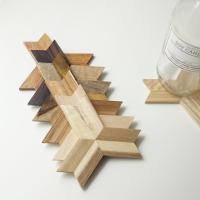 삼각별 우드코스터 원목 컵받침