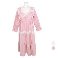 [쿠비카]후 4단 밴딩 셔링 기모 원피스 여성잠옷 W705