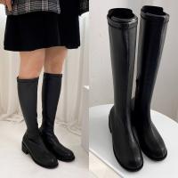 [애슬릿]발 편한 둥근코 여성 스판 롱 부츠 4cm