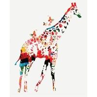 DIY 명화그리기키트 - 나비 기린 40x50cm (물감2배, 컬러캔버스, 명화, 동물, 기린, 나비)