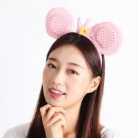 반짝이왕관 마우스 머리띠 - 핑크