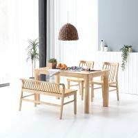 휴치 고무나무 원목 식탁 세트 4인용 벤치형 B
