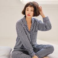 [쿠비카]배색 체크 워싱 순면 투피스 여성잠옷 W383