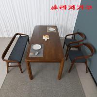 구시 고무나무 원목 4인 벤치형 식탁세트