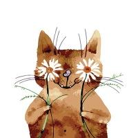 DIY 명화그리기키트 - 꽃을 든 고양이 40x50cm (물감2배, 컬러캔버스, 명화, 동물, 고양이, 꽃)