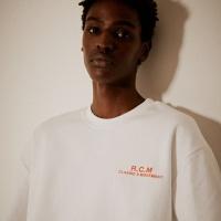 R.C.M 후면 전사프린트 티셔츠(남여공용) 화이트
