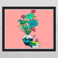 ia442-풍수연꽃과파도화분_창문그림액자