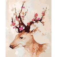 DIY 명화그리기키트 - 행운 꽃사슴 40x50cm (물감2배, 컬러캔버스, 명화, 동물, 사슴, 행운, 꽃사슴)