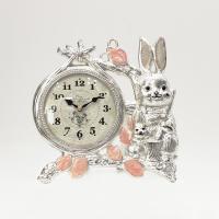 (kspz344)저소음 토끼시계 은 (벽/탁상 겸용)