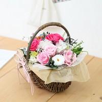 [시들지 않는 영원함 프리저브드 플라워] 핑크장미꽃바구니