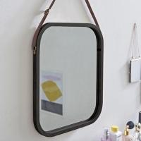 앳홈 가죽 스트랩 원목 사각 벽거울