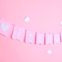 펠트 베이비 가랜드 - 핑크