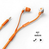 에어로폰 마이크/리모트기능 플랫케이블 이어폰 - MQGT26[오렌지]