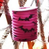할로윈 원통등 23cm - 박쥐 퍼플