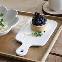 홈스토랑 화이트 손잡이 도마 접시(소) 1p