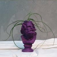 퍼플 컬러 페인팅 석고상화분 틸란 붇지+모스+리본