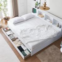 [노하우] 블랑 파티션책장 서랍형 퀸 침대 (매트포함)