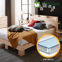[우아미] 힐링 편백 수납 원목 침대,본넬매트 Q