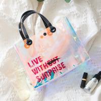 여름바캉스 PVC 홀로그램 투명방수 비치토트백 TOTE